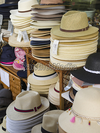 selling of typical hats made of