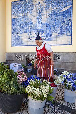 traditional flower seller flower market funchal