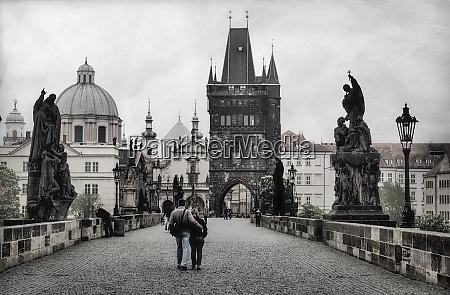 czech republic prague couple walking on