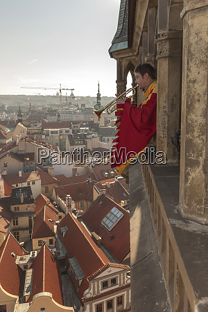 trumpeter in old town hall tower