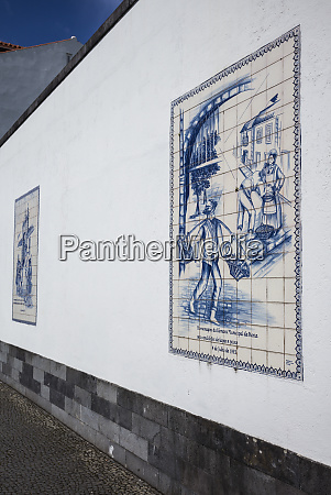 portugal azores faial island horta azulejo