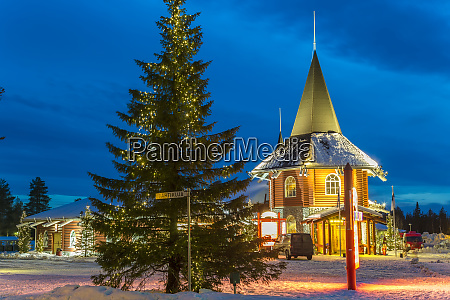 santa claus village at dusk rovaniemi