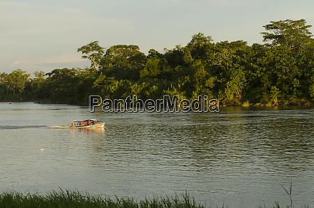speed boat napo river amazon rainforest