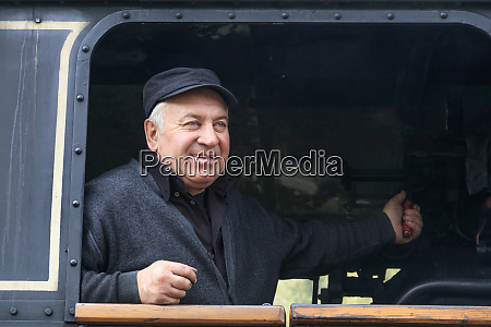 romania moldovita old steam train engineer