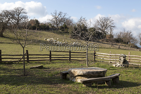 italy sardinia ovodda wooden bench in