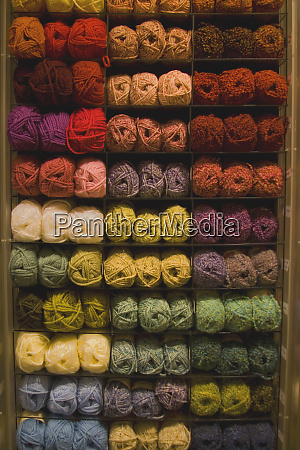 display of yarn for knitting in