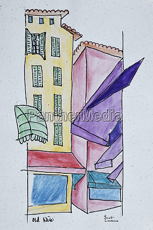 abstract watercolor of old nice nice
