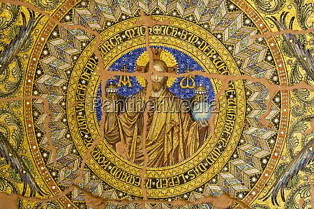 germany berlin ornate mosaic ceiling of