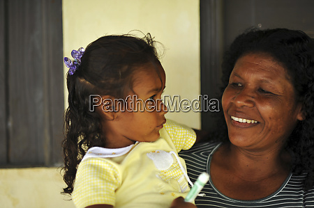 dominica carib territory mother holding daughter