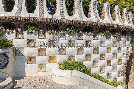 europe spain barcelona park guell mosaic