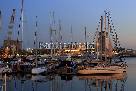 yachts moored in the barcelona port