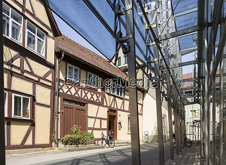 traditional half timbered medieval house and