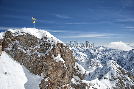 top of zugspitze mountain top with