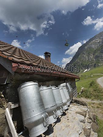 gondola passing over swiss dairy farm
