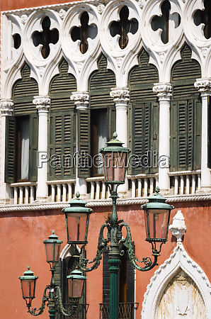 street lamp and venetian gothic architecture