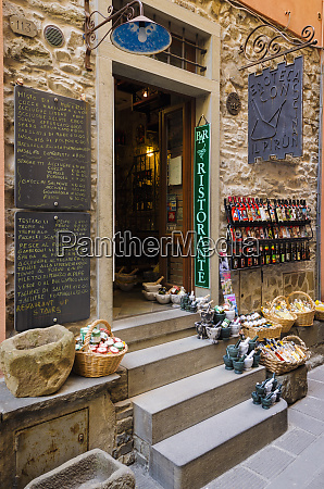 shops and narrow street in corniglia