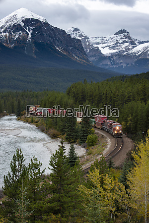 canada alberta train traveling through jasper