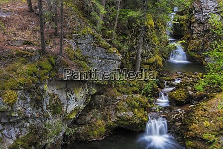 cascading waterfalls along falls creek near