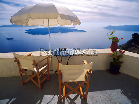 greece santorini oia house balcony with