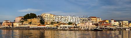 greece crete chania old harbor panorama