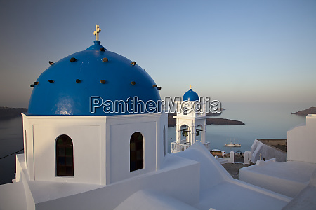 greece santorini imerovigli blue dome and