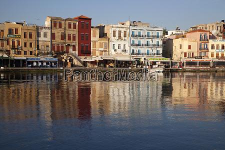 greece crete chania harbor and reflection