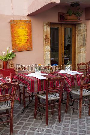 greece crete chania outdoor restaurant tables