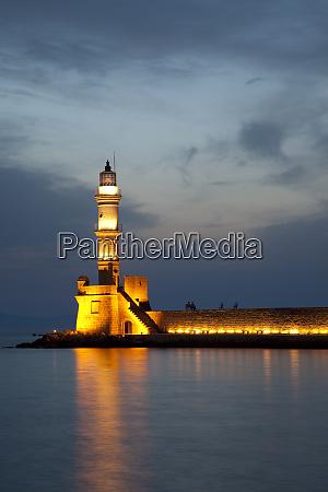 greece crete chania venetian lighthouse at