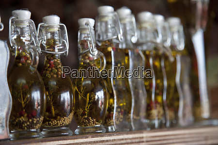 greece santorini row of bottles of