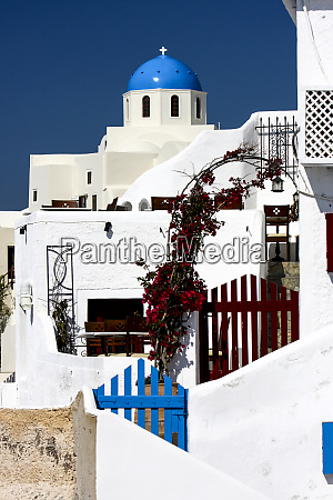 oia santorini greece blue dome of