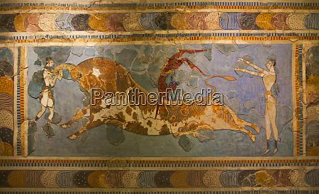 mural heraklion museum crete island greece