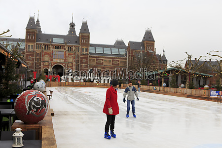 a temporary ice rink set up