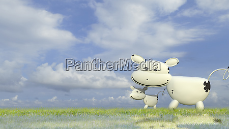 3d rendering of cow a beautiful