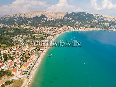 aerial view of baska coastal cityscape