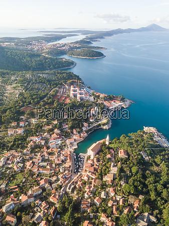 aerial view above of veli losinj
