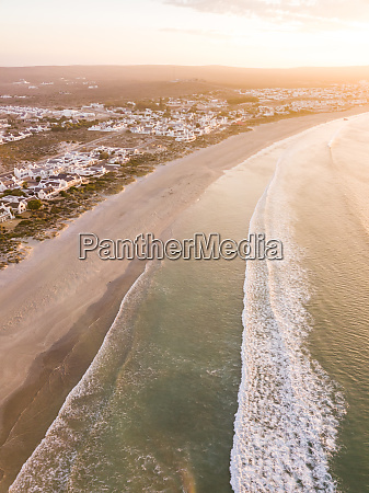 aerial view of sunset over beach