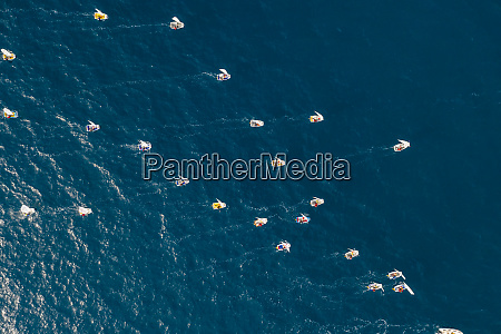 aerial view of sailing boat competition