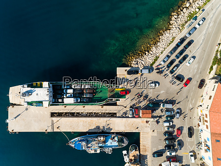 aerial view of cars disembarking of