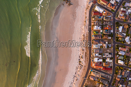 aerial view of cozy coastal neighborhood