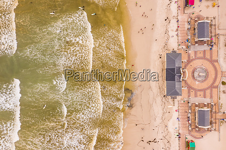 aerial view of muizenberg beach at