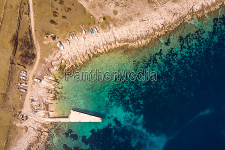 aerial view of boat pier at