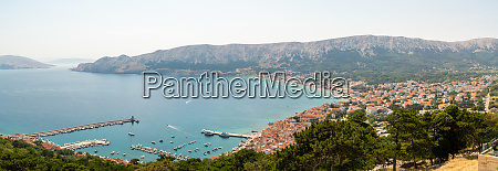 panoramic aerial view of baska coastal