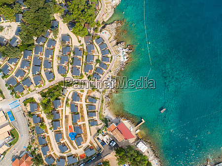 aerial view of luxury camping resort