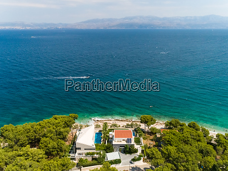 aerial view of touristic hotel at