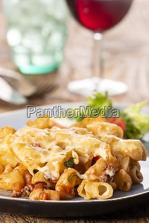 portion of a pasta gratin on
