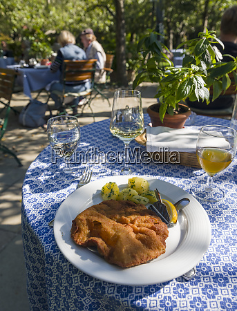viennese schnitzel and wine served in