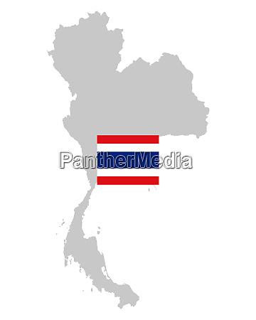 fahne und landkarte von thailand