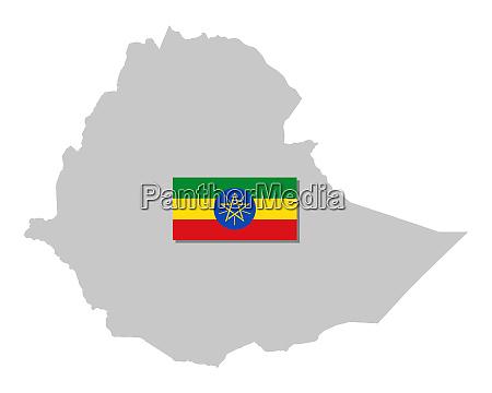 fahne und landkarte von AEthiopien