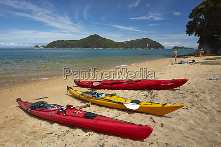 kayaks on observation beach and adele