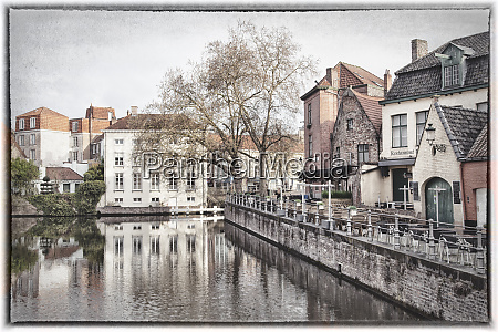 belgium brugge early morning digitally altered